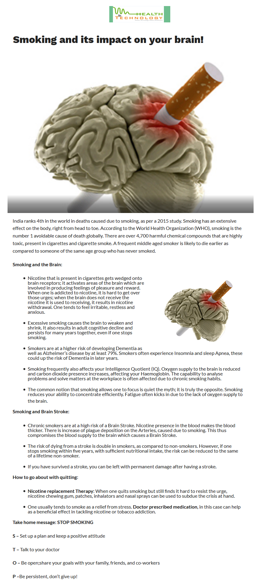 News - 5 Must Know Facts about Smoking and Brain Health