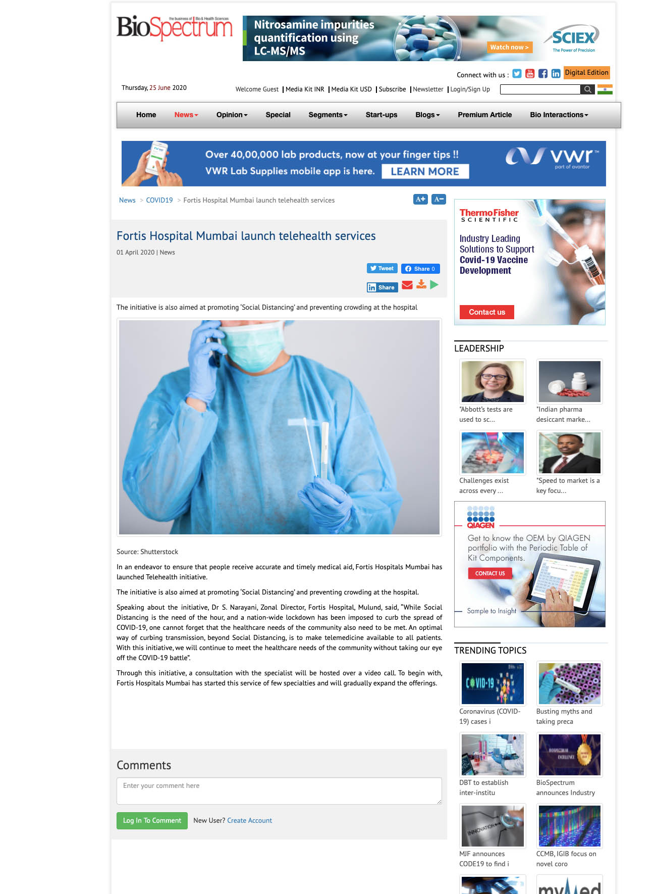News - Fortis Hospital Mumbai Launch Telehealth Services