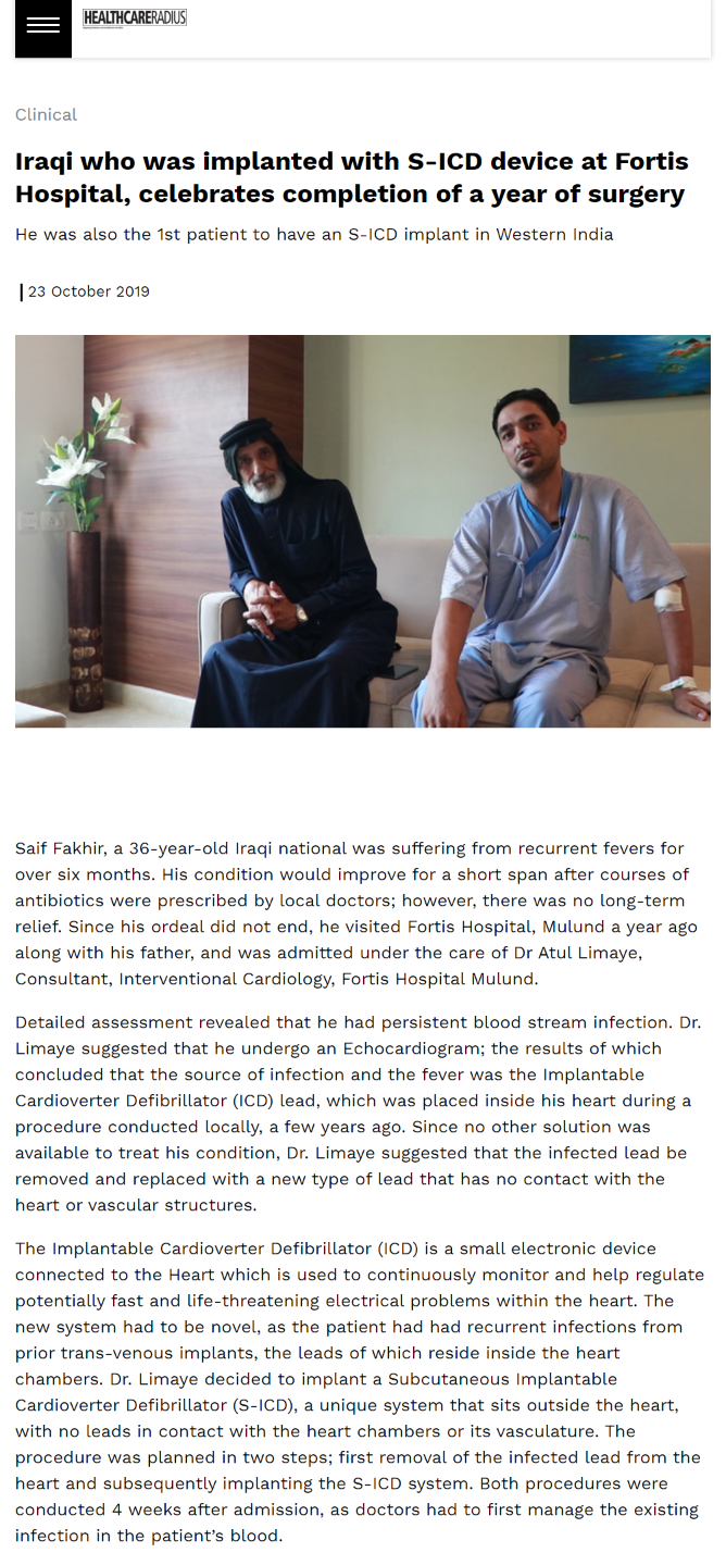 News - Iraqi who was implanted with S-ICD device at Fortis Hospital celebrates the completion of a year of surgery