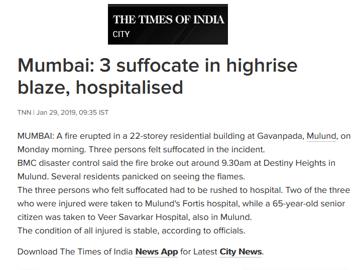 News - 3 Suffocate in Highrise Blaze, Hospitalised