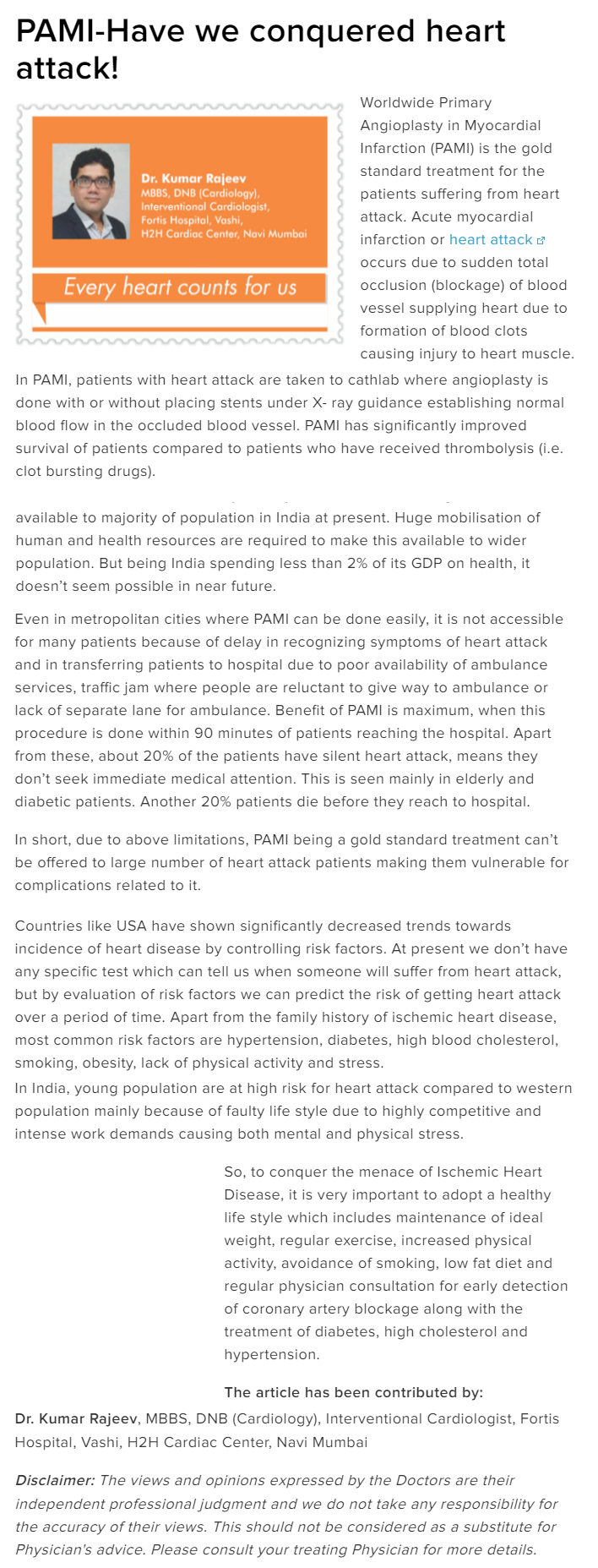 News - PAMI-Have we conquered heart attack!