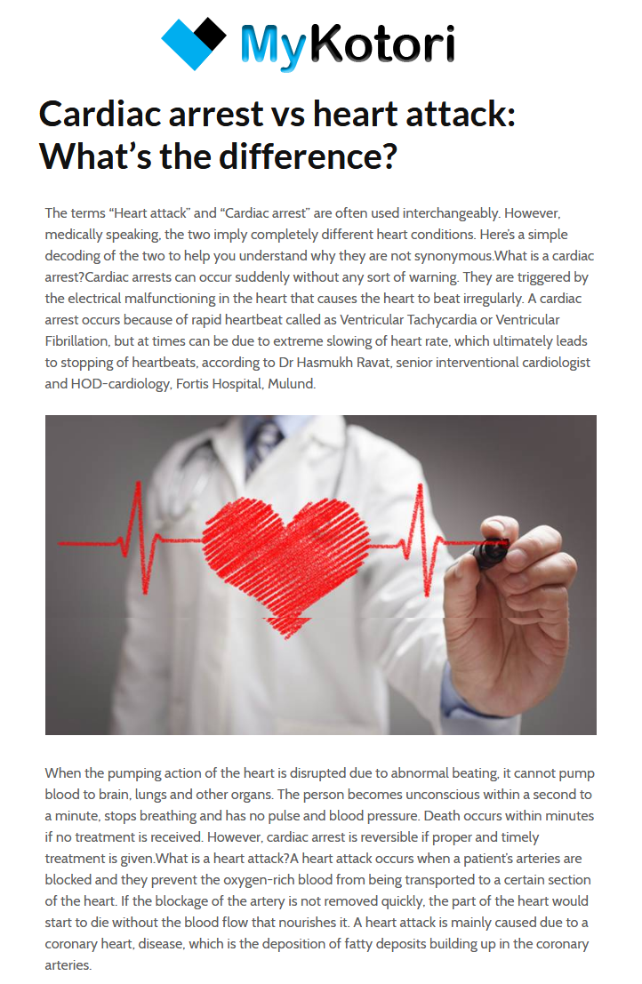 News - Cardiac Arrest VS Heart Attack What's the Difference