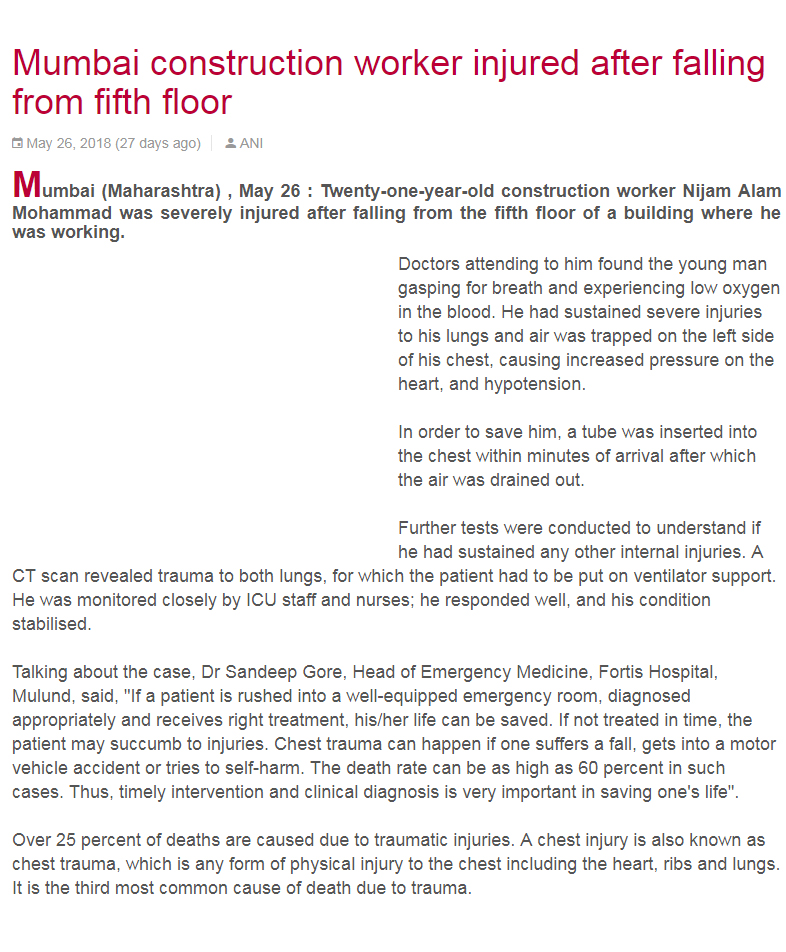 News - Mumbai construction worker injured after falling form fifth floor