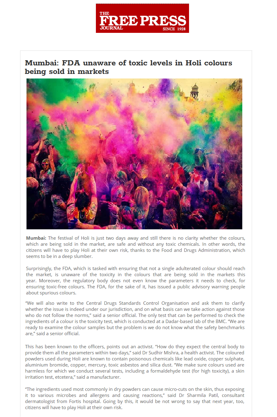 News - FDA Unaware of Toxic Levels in Holi Colours Being Sold in Markets