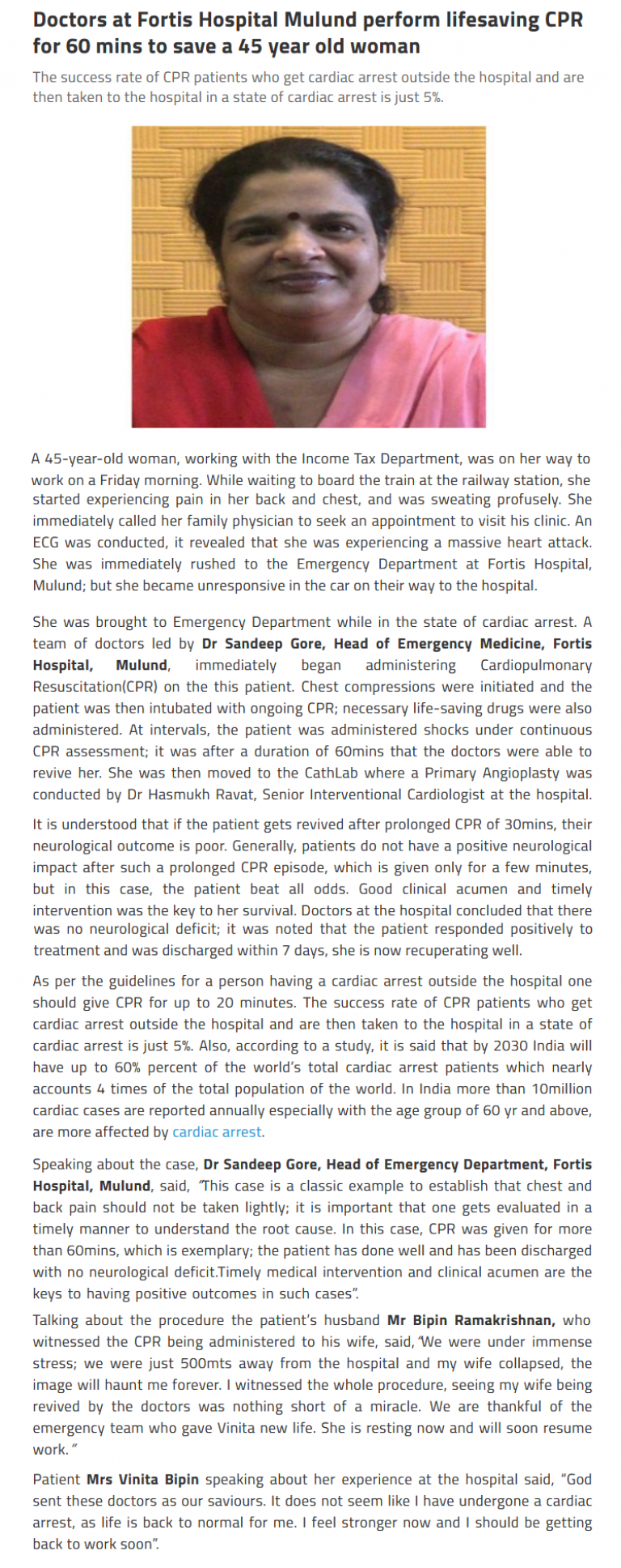 News - Doctors at Fortis Hospital Mulund Perform Lifesaving CPR for 60 mins to Save a 45 Year old Woman