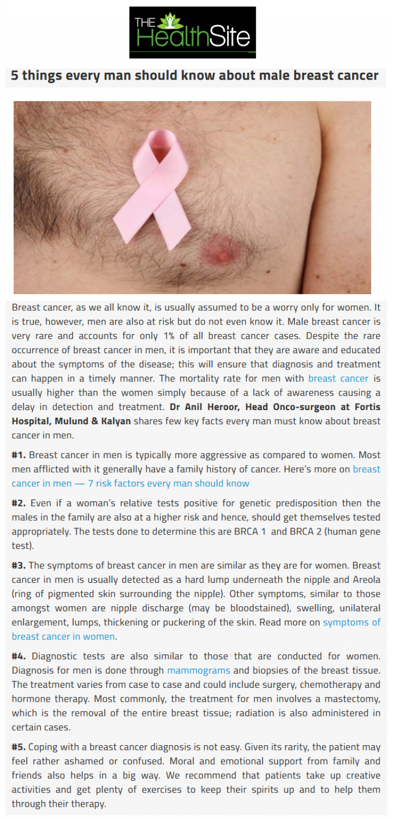 News - 5 Things Every Man Should Know about Male Breast Cancer