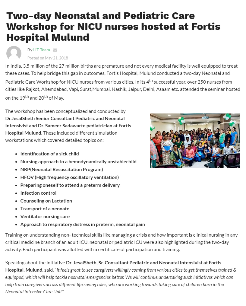 News - Two-day Neonatal and Pediatric Care Workshop for NICU nurses hosted at Fortis Hospital Mulund