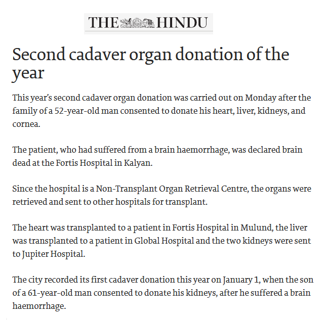 News - Second Cadaver Organ Donation of the Year