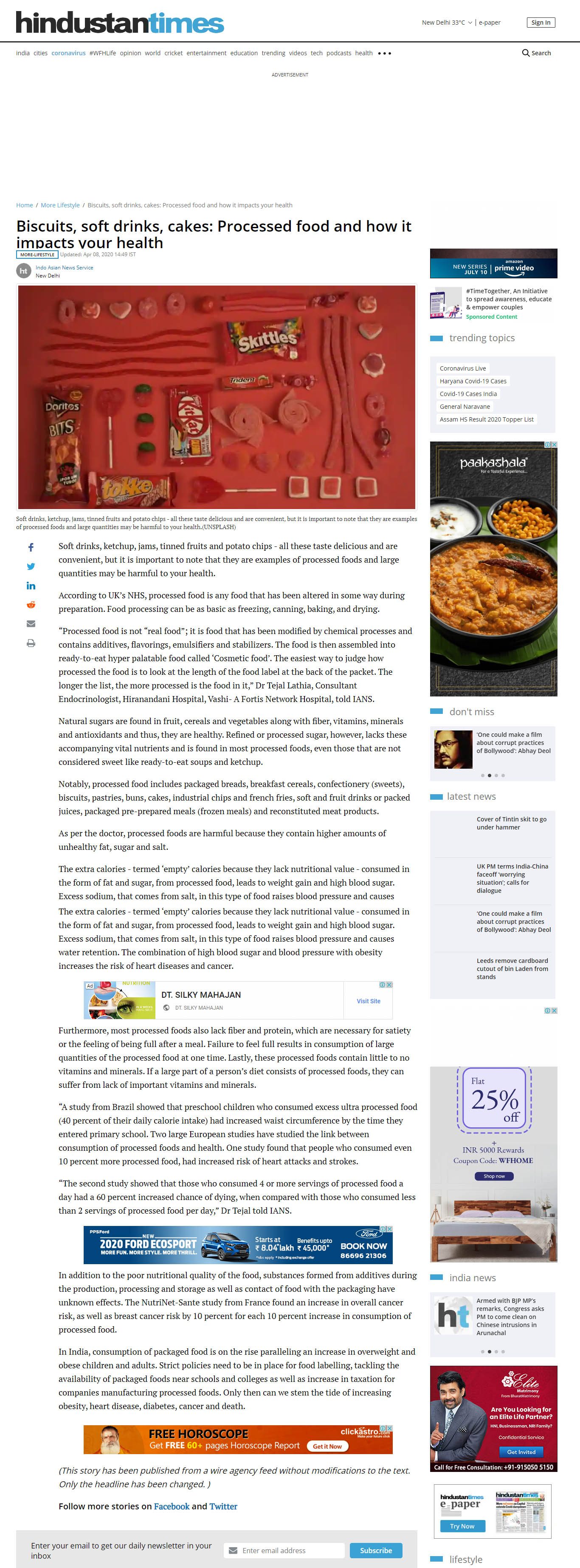 News - Processed Food And How It Impacts Your Health