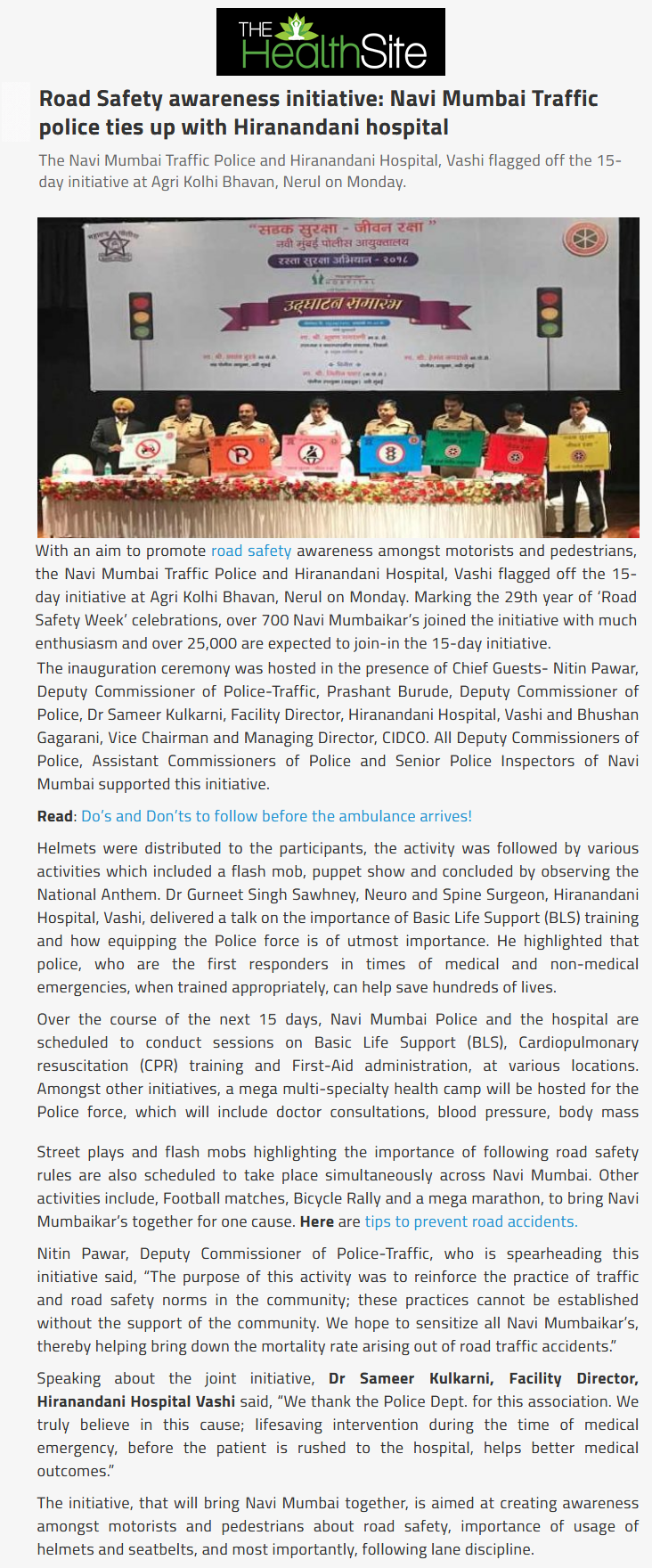 News - Road Safety awareness initiative: Navi Mumbai Traffic police ties up with Hiranandani hospital