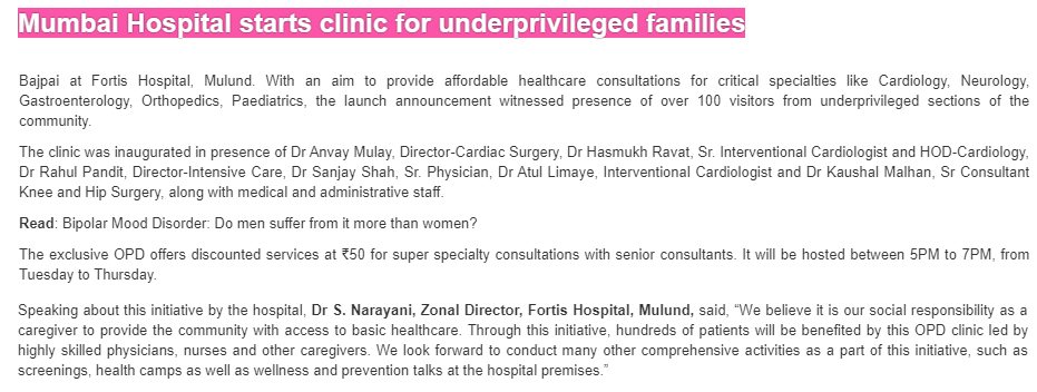 News - Mumbai Hospital Starts a Clinic for Underprivileged Families